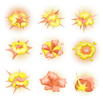 Cartoon boom. set of fire bomb explosions in comic style.  illustration, .
