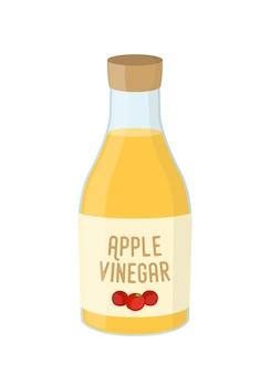 リンゴ酢、黄色の調味料の漫画のボトル