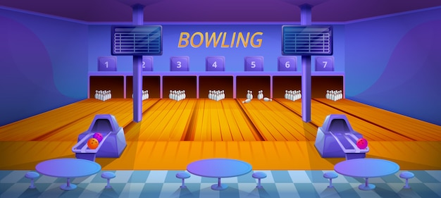 Cartoon bowling club interior with furniture, vector illustration