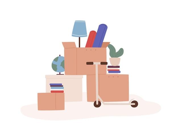 Мультяшные коробки с разными вещами, готовые к переезду, изолированные на белом