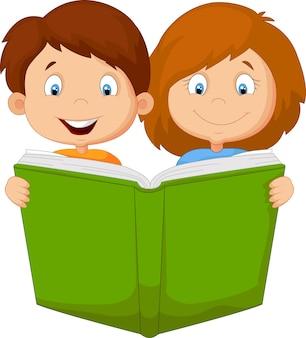 漫画の男の子と女の子の読書