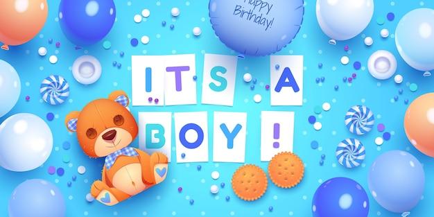 漫画の男の子の誕生日オブジェクトコレクション