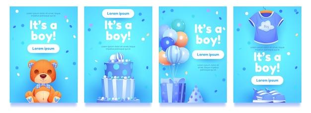Collezione di oggetti per il compleanno del ragazzo dei cartoni animati