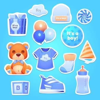 Cartoon boy birthday objects collection