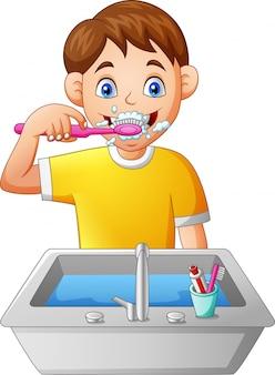 Cartoon boy brushing teeth