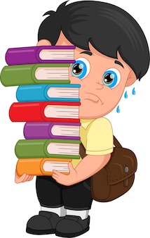 たくさんの本を運ぶ漫画の少年