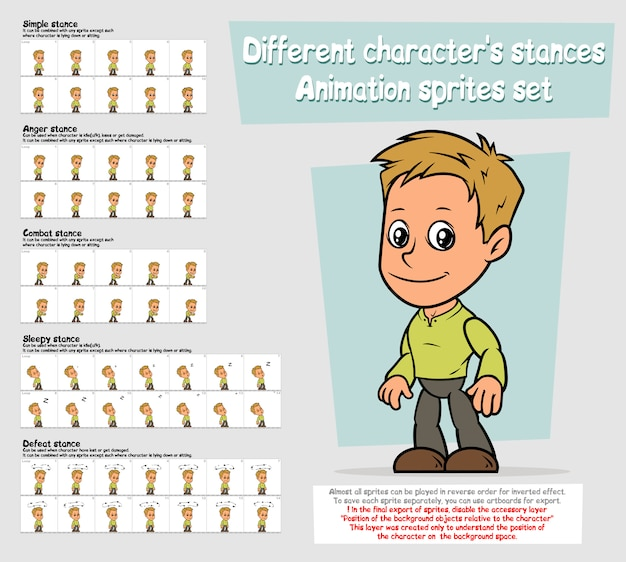 漫画少年キャラクターアニメーションスプライトシートセット