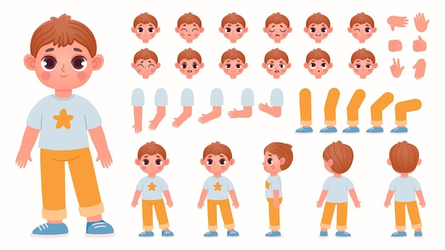 Cartoon boy character constructor with body parts and face emotions. child expressions, leg poses and hand gestures for animation vector set