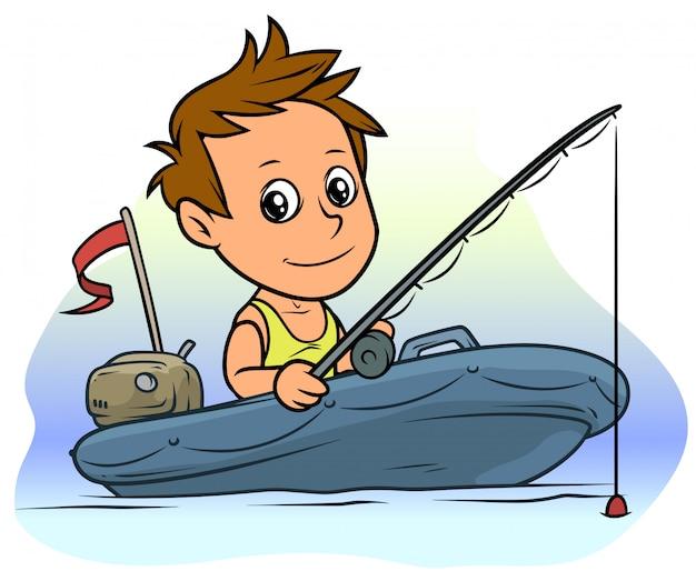 Мальчик персонаж мультфильма на синей надувной лодке
