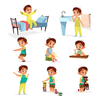 Cartoon boy daily routine activity set. male character wake up, stretch, brushing teeth