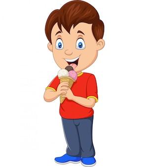 Мультяшный мальчик ест мороженое