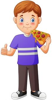 ピザを食べる漫画少年。図