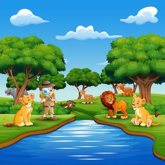Cartoon boy explorer with animals by the river