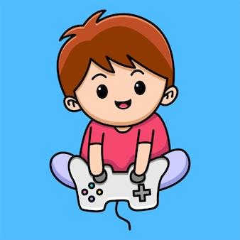 Мультфильм мальчик игры изолирован на синем