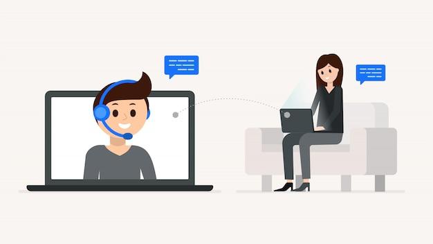 Cartoon boy and girl having dialogue online