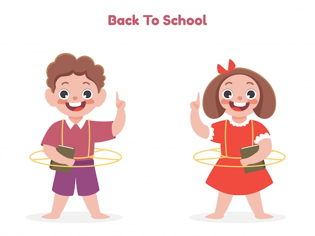 Cartoon boy and girl holding a book with index finger up on white background for back to school concept.