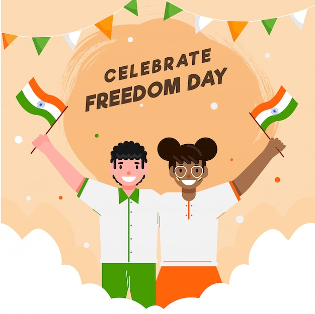 Cartoon boy and girl holding indian flags with clouds on pastel orange background for celebrate freedom day.