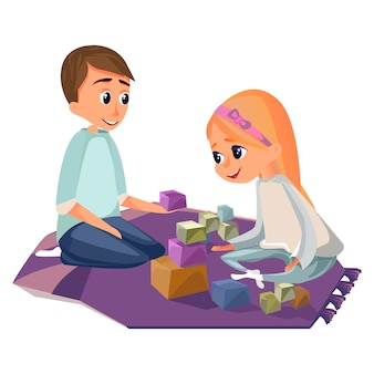 Cartoon boy and girl play wooden building blocks