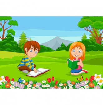 Cartoon boy and girl reading books in the park