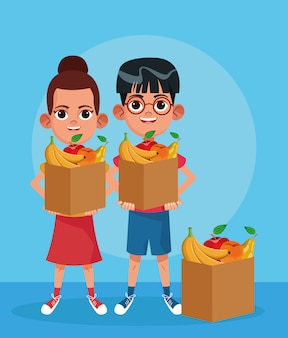 Cartoon boy and girl with boxes with fruits over blue