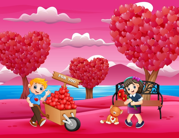 Cartoon boy giving to girl a pile of hearts on the wood trolley