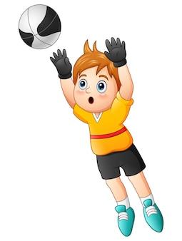 Cartoon boy goalkeeper catching a soccer ball