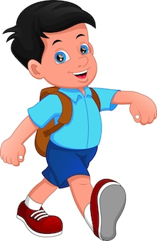 Cartoon boy going to school