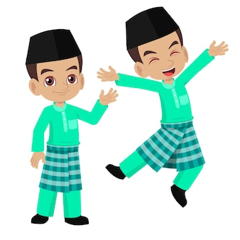 Cartoon boy happy wearing malay traditional clothes