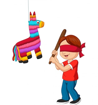 Cartoon boy hitting pinata game