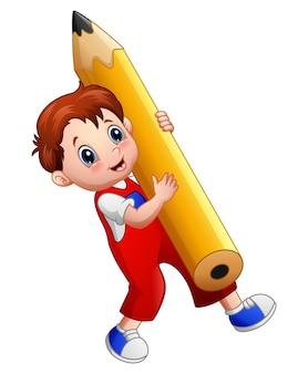 큰 연필 들고 만화 소년