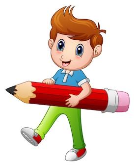 연필 들고 만화 소년