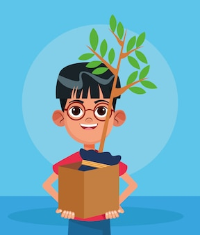 Cartoon boy holding a box with a plant over blue