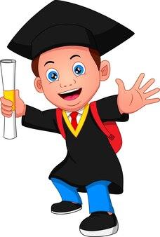 卒業衣装の漫画の少年