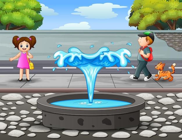 Cartoon a boy and little girl walking in the roadside