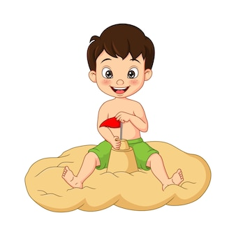Мультяшный мальчик строит замки из песка на пляже