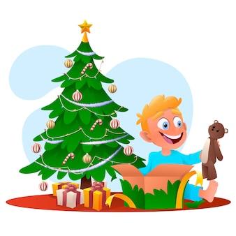 Cartoon boy opening christmas gift