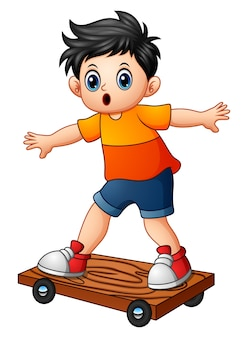 Cartoon boy playing skateboard