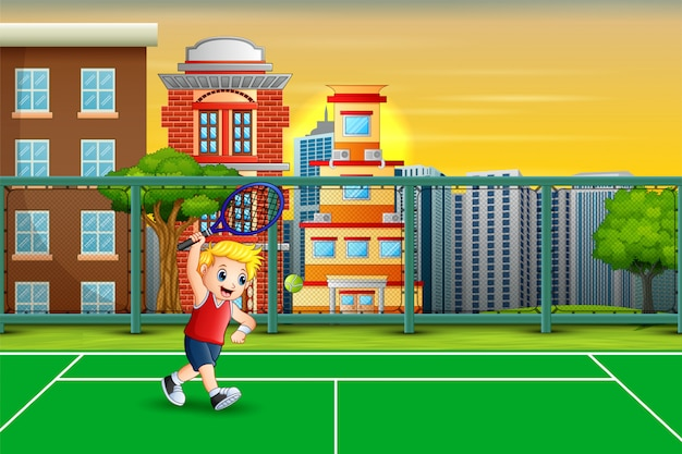 Cartoon a boy playing tennis at the court