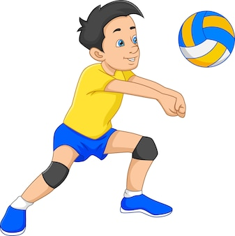 Cartoon boy playing volleyball on white