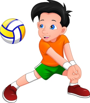 Cartoon boy playing volleyball