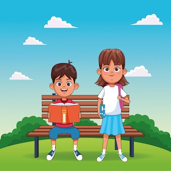 Cartoon boy reading a book sitting on a bench and girl standing with a school backpack