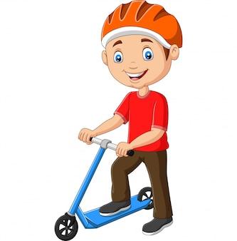 Cartoon boy riding a scooter