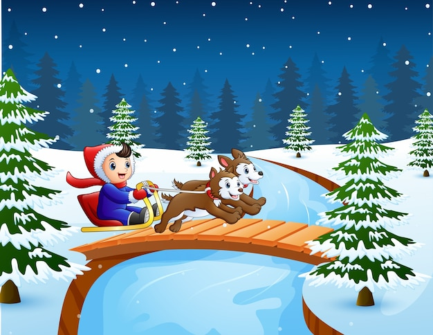 Cartoon boy riding sled on the bridge in the snowing hill
