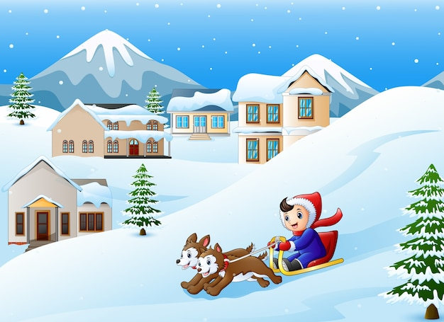 Cartoon boy riding sled on the downhill pulled by two dogs