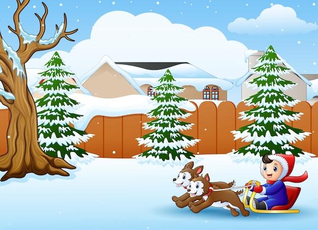 Cartoon boy riding sled