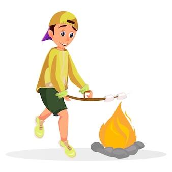 Cartoon boy roast marshmallow stick over fire