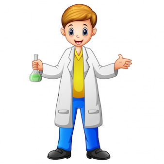 Cartoon boy scientist holding a test tube