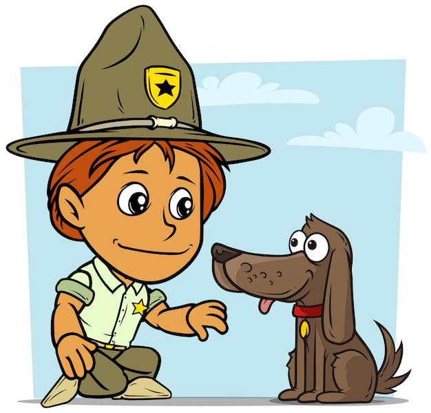 Cartoon boy scout character with dog