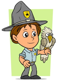 Cartoon boy scout character with parrot
