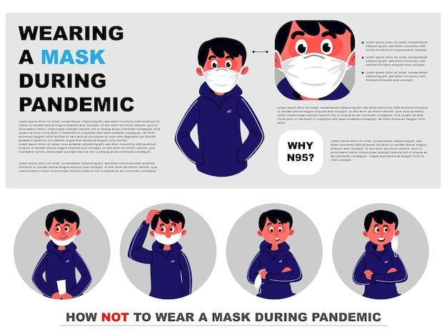만화 소년은 안면 마스크를 올바르게 착용하고 마스크를 착용하지 않는 방법을 보여줍니다.